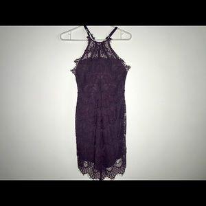 Purple Lace Dress Halter Neck